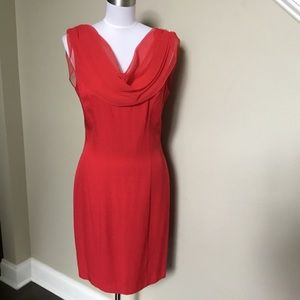 sexy SCARLETT NITE red chiffon Sheath Dress 4 9/10
